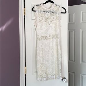 Windsor Store Off White High Neck Lace Dress
